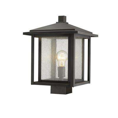 Caspian 1-Light Outdoor Oil Rubbed Bronze Post Light with Clear Ribbed Glass