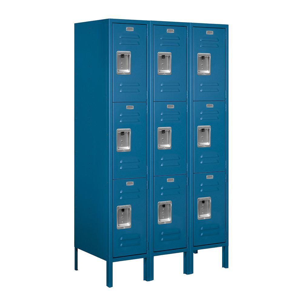 63000 Series 36 in. W x 66 in. H x 18 in. D - Triple Tier Metal Locker Assembled in Blue