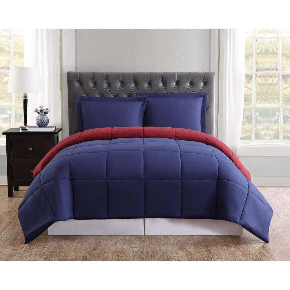 Everyday Navy and Burgundy Reversible King Comforter Set