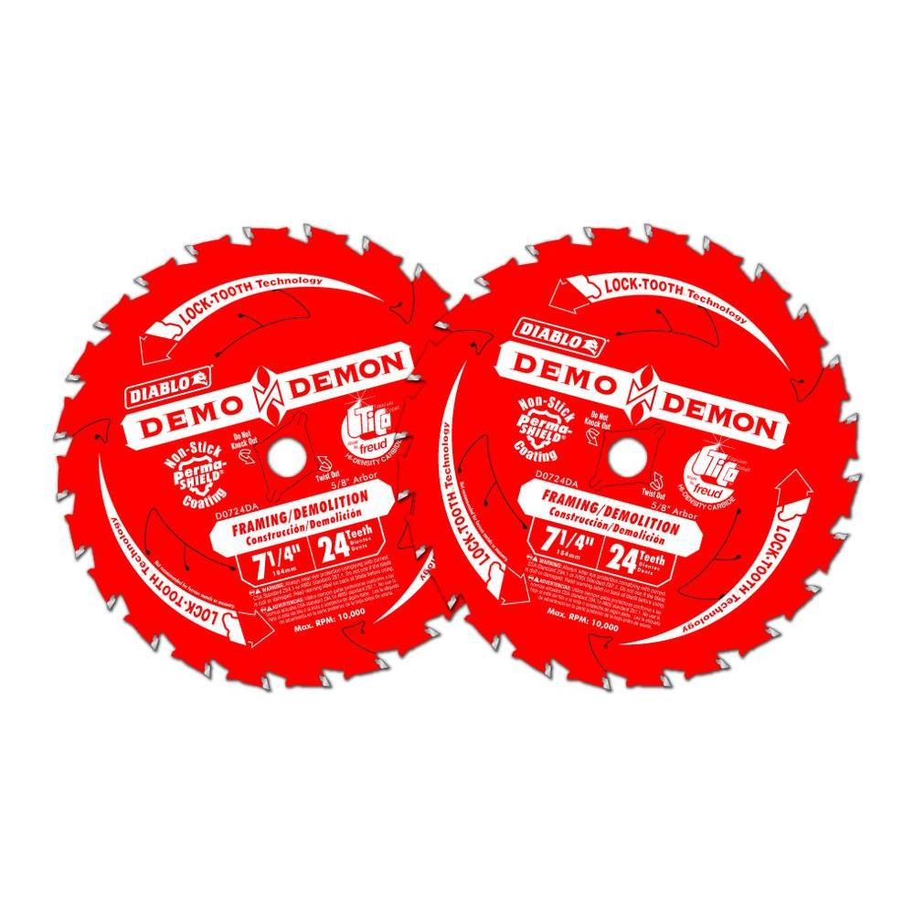 Diablo 7-1/4 in. x 24-Tooth Demo Demon Framing/Demolition Saw Blade (2-Pack)