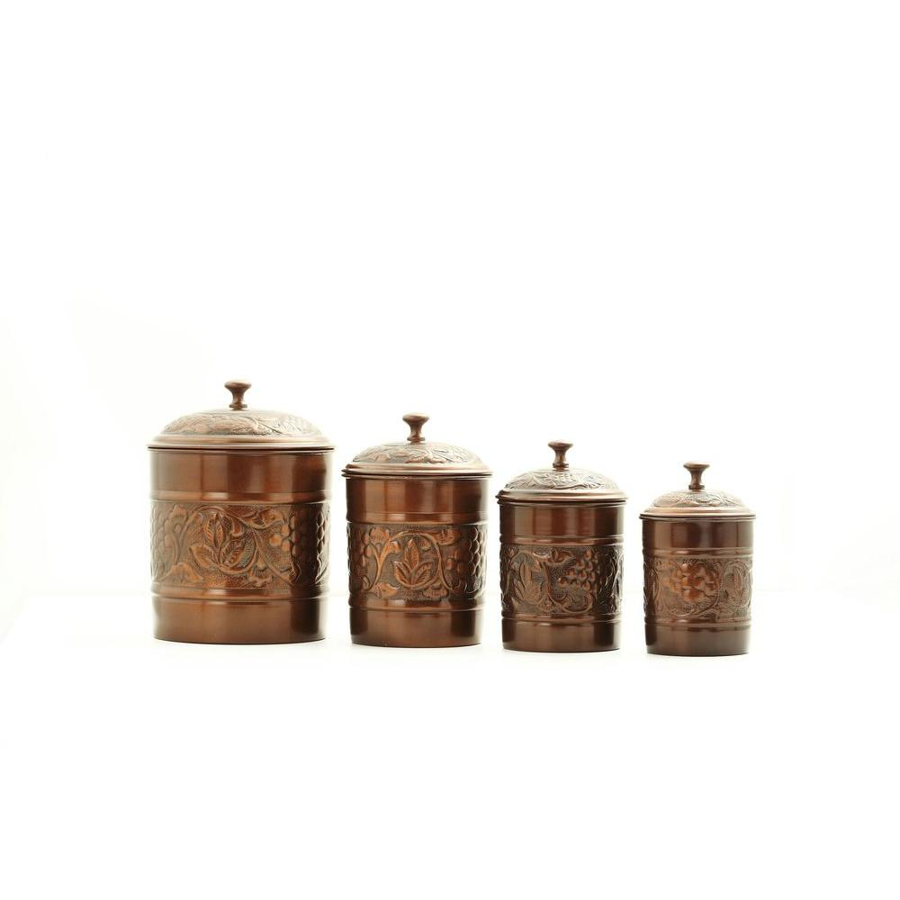 Old Dutch Antique Embossed Heritage Canister Set 4 Piece 811 The