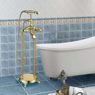 40 in. H x 8 in. W Single-Handle Claw Foot Tub Faucet with Hand Shower in Brushed Brass