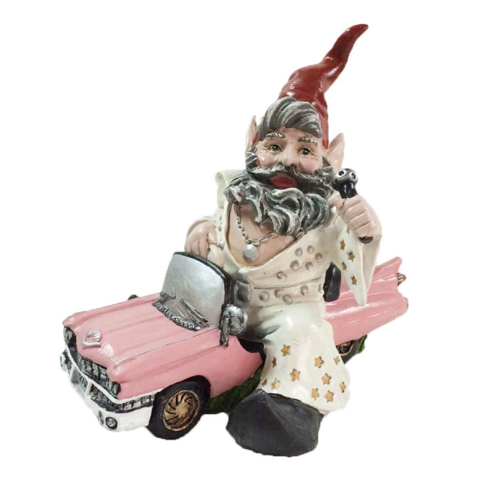 14 in. H Vegas Gnome In His Pink Cadillac Car Garden