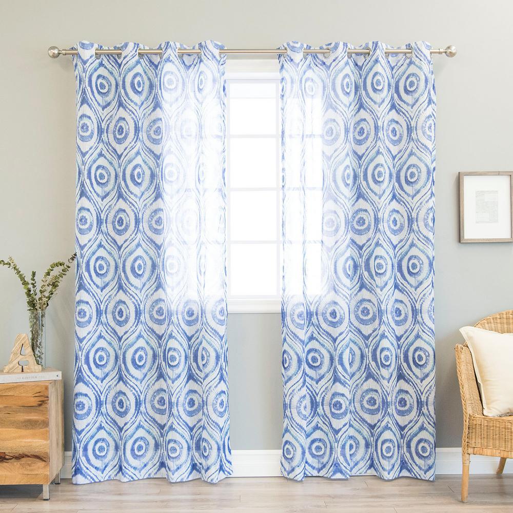 Blue Sun Burst Shibori Grommet Curtain - 52 in. W x 84 in. L (2-Pack)
