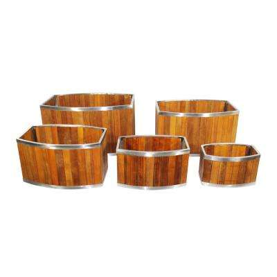 18 in. x 28 in. Oval Medium Brown Wooden Planter with Stainless Steel Trim
