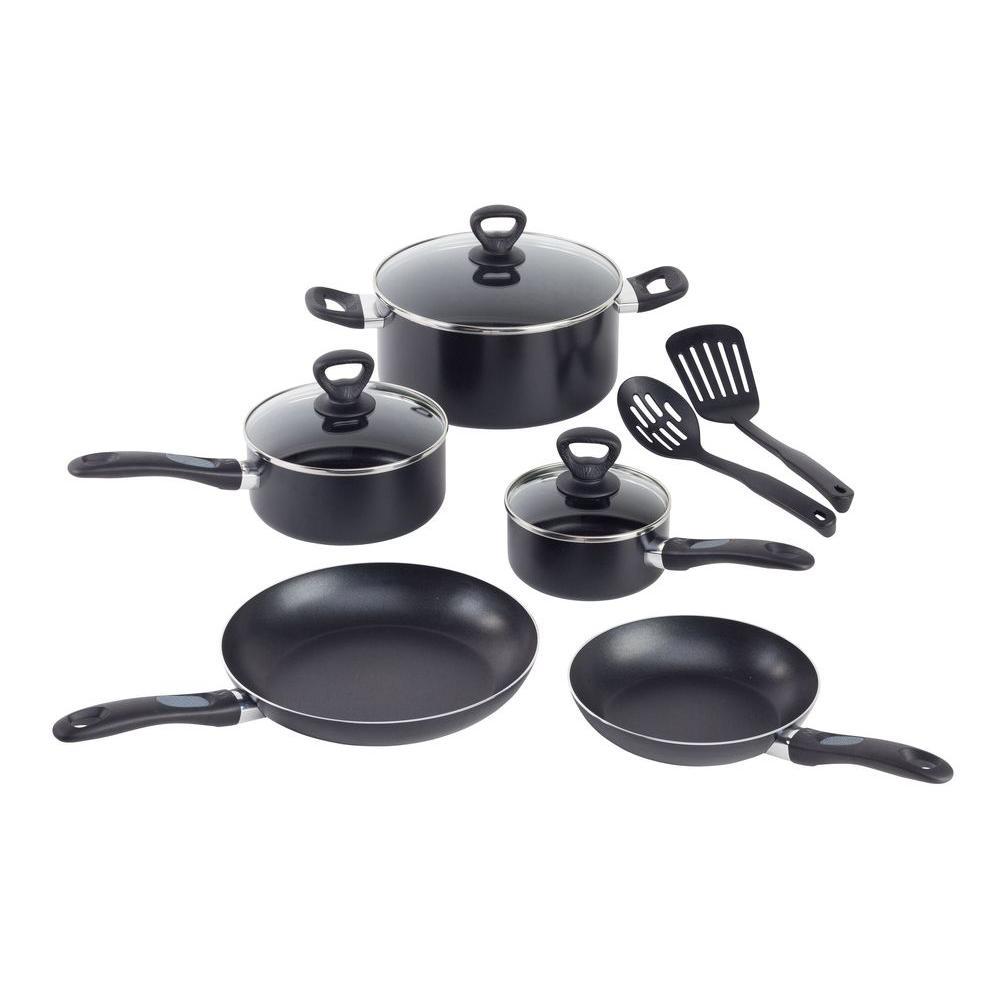 T-Fal Comfort Grip 10-Piece Black Cookware Set with Lids