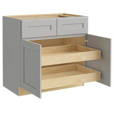 Tremont Assembled 36 x 34.5 x 24 in Plywood Shaker Base Kitchen Cabinet 2 rollouts Soft Close in Painted Pearl Gray