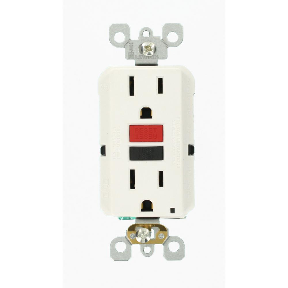Leviton 15 Amp Self Test Smartlockpro Slim Duplex Gfci Outlet White Decora 4way Switch Whiter58056042ws The Home Depot