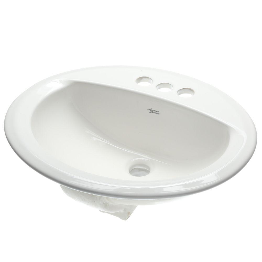 Aqualyn Self-Rimming Drop-In Bathroom Sink in White