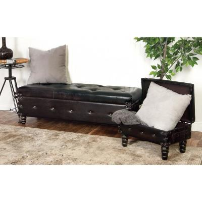 Brown Faux Leather Benches (Set of 3)