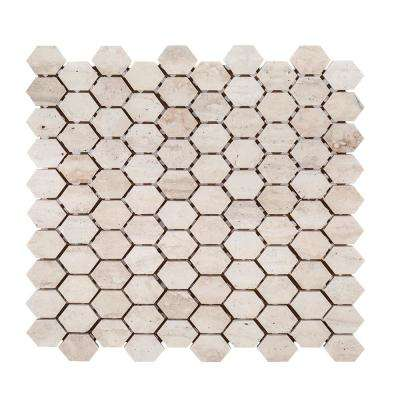 Travertine Constellation 10-7/8 in. x 11-5/8 in. x 8 mm Honed Marble Mosaic Tile