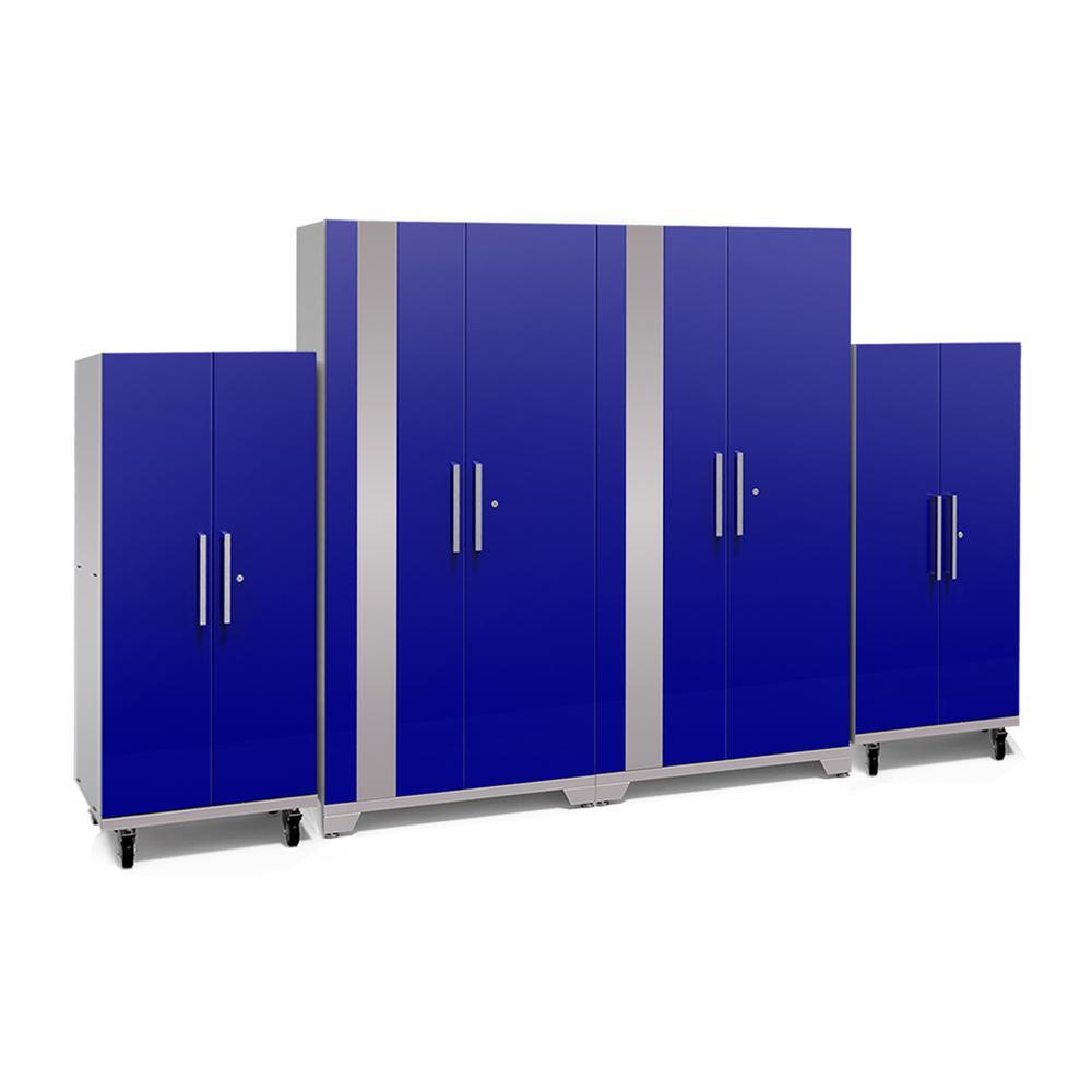 Performance Plus 2.0 Series 85.25 in. H x 128 in. W x 24 in. D Steel Garage Cabinet Set in Blue (4-Piece)