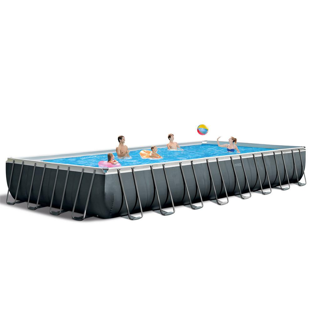 Intex Intex 32 ft. x 16 ft. x 52 in. Ultra XTR Rectangular Above Ground  Swimming Pool Set, Gray