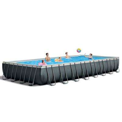 Intex 32 ft. x 16 ft. x 52 in. Ultra XTR Rectangular Above Ground Swimming  Pool Set, Gray