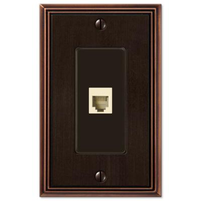 Rhodes 1 Gang Phone Metal Wall Plate - Aged Bronze