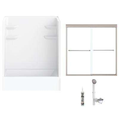 60 in. x 32 in. x 82 in. Bath and Shower Kit with Left-Hand Drain and Door in White and Brushed Nickel Hardware