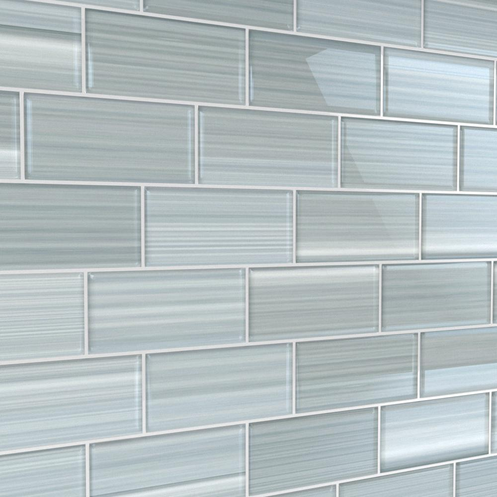 - Bodesi Heron Gray 3 In. X 6 In. Glass Tile For Kitchen Backsplash