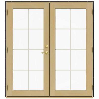 72 in. x 80 in. W-2500 Bronze Clad Wood Right-Hand 8 Lite French Patio Door w/Unfinished Interior