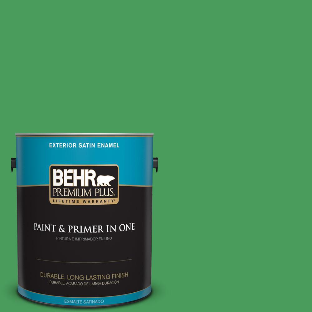 BEHR Premium Plus 1-gal. #P400-6 Clover Patch Satin Enamel Exterior Paint