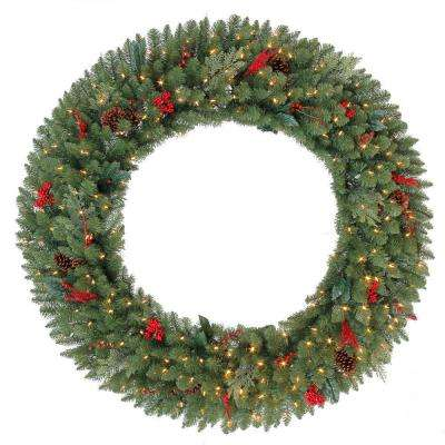 Decorate your home with the 60 in. Pre-Lit Winslow Artificial Wreath with Clear Warm White Lights