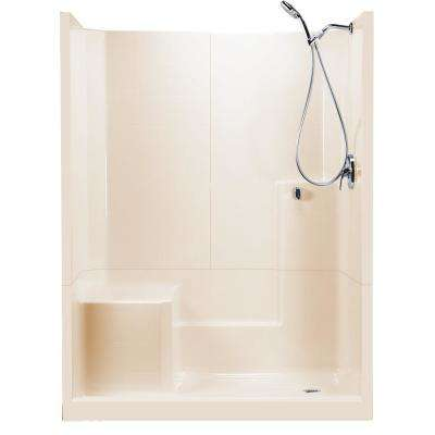 60 in. x 33 in. x 77 in. Standard 3-Piece Low Threshold Shower Stall in Bone LHS Molded Seat Shower Kit Right Drain