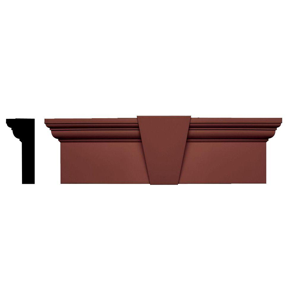 Builders Edge 3-3/4 in. x 9 in. x 33-5/8 in. Composite Flat Panel Window Header with Keystone in 027 Burgundy Red