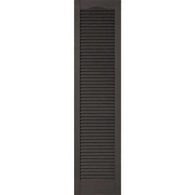 18 in. x 72 in. Lifetime Vinyl Custom Cathedral Top All Open Louvered Shutters Pair Tuxedo Grey