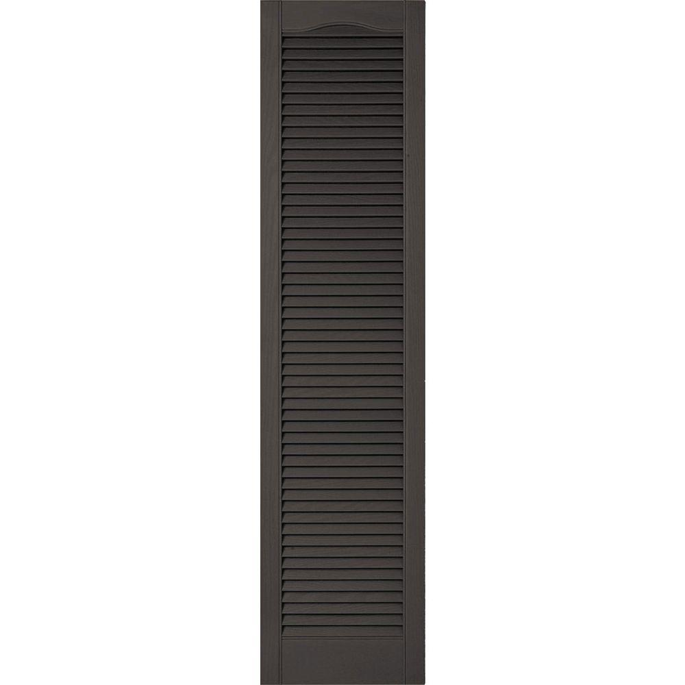 Ekena Millwork 14-1/2 in. x 51 in. Lifetime Vinyl Custom Cathedral Top All Open Louvered Shutters Pair Tuxedo Grey