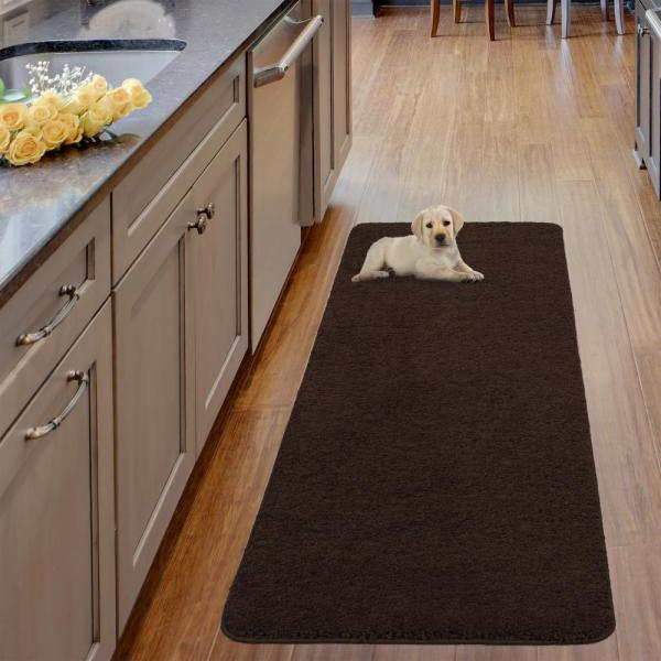 Luxury Shaggy Collection Shag Solid Design Brown 2 ft. x 5 ft. Runner Rug