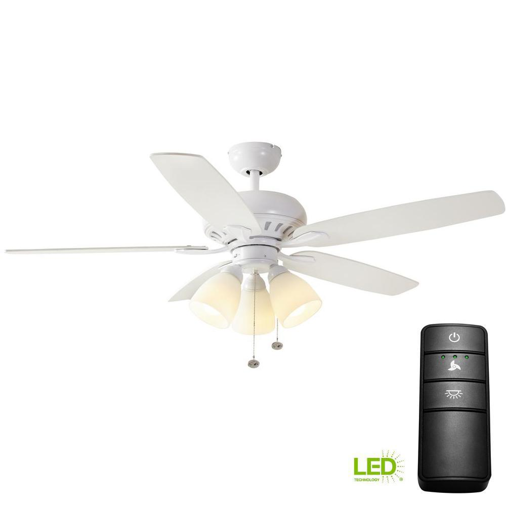 Rockport 52 In Led Matte White Ceiling Fan With Light Kit And Remote Control
