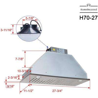 28 in. 600 CFM Wall Mounted Range Hood With Light in Stainless Steel