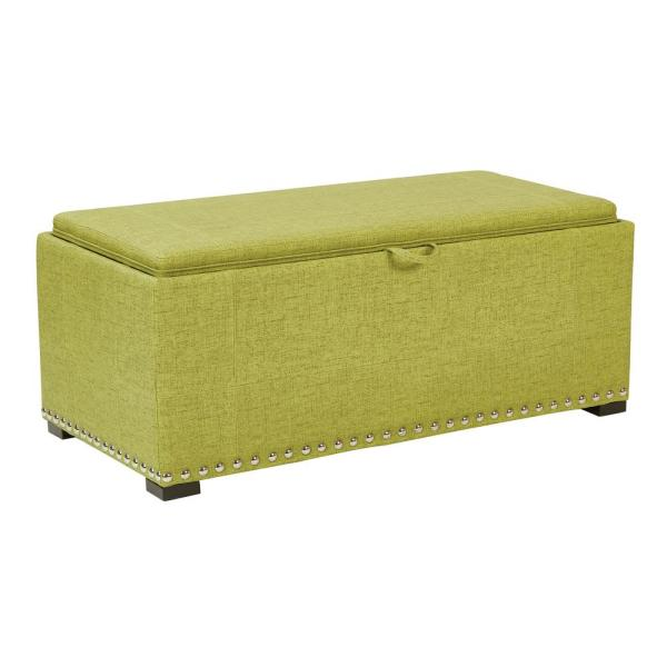 OSP Home Furnishings Florence Basil Fabric Bench with Cubes, Silver Nail-Heads