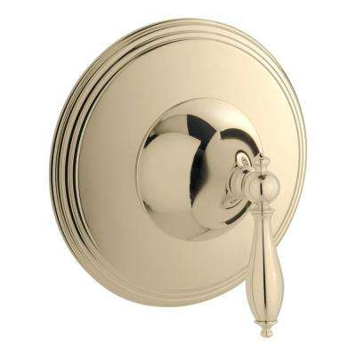 Finial Traditional 1-Handle Thermostatic Valve Trim Kit in Vibrant French Gold (Valve Not Included)