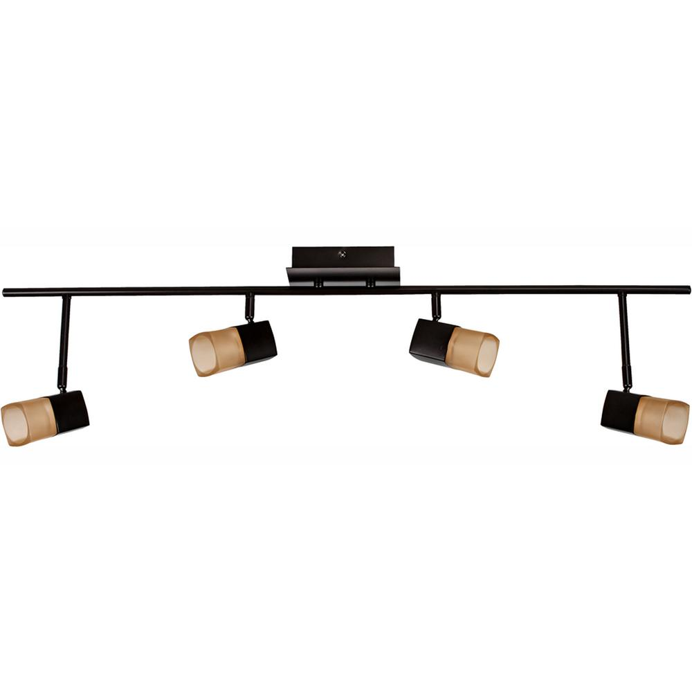 Hampton Bay 3 Light Bronze Directional Ceiling Track: Hampton Bay Vega 3.6 Ft. 4-Light Oil-Rubbed Bronze LED