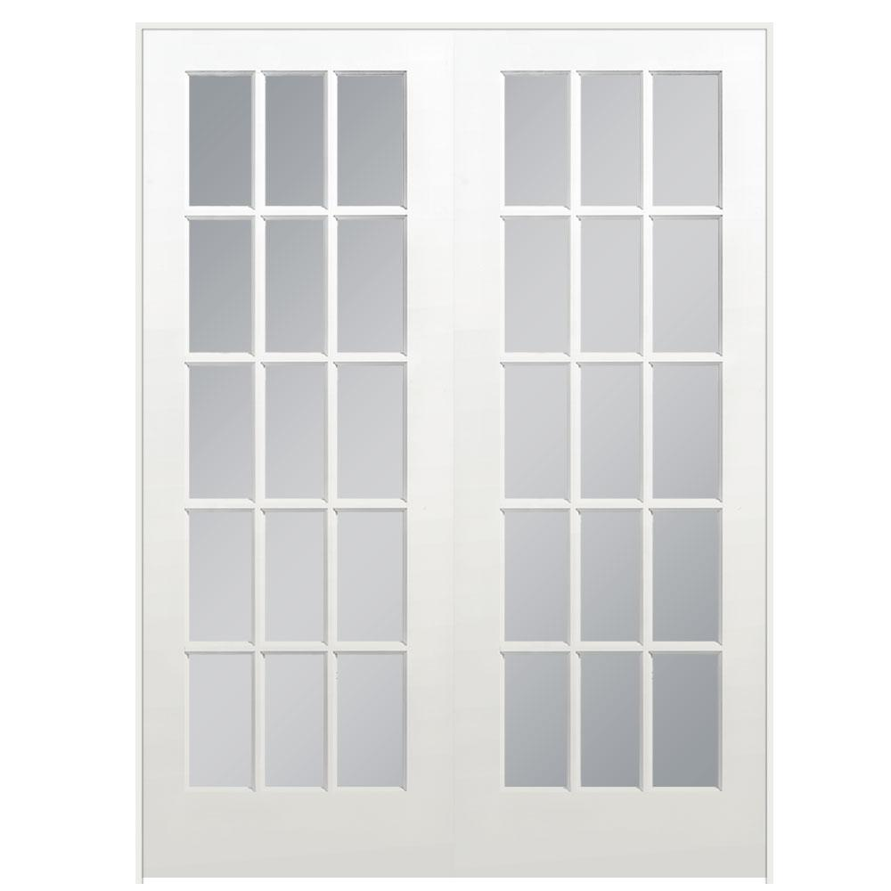 Masonite 60 in x 80 in 15 lite primed white universal for Prehung interior french doors