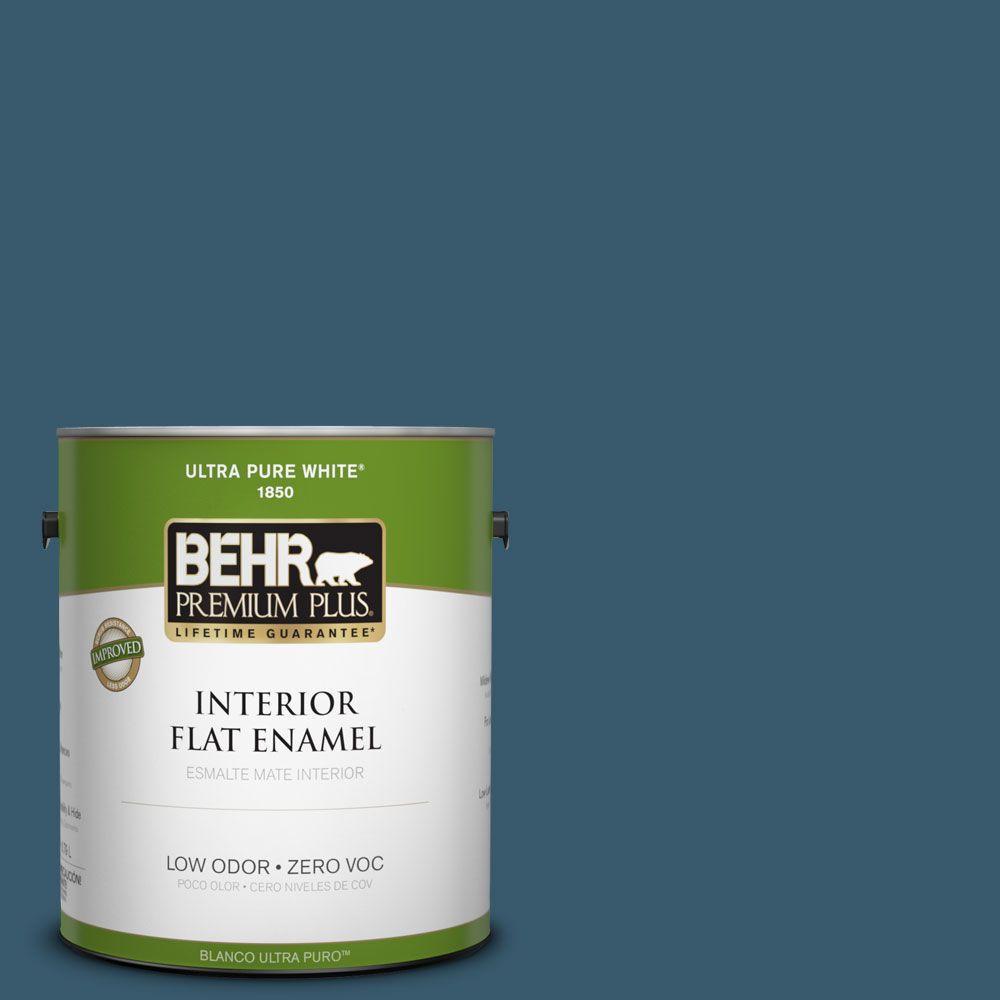 BEHR Premium Plus 1-gal. #550F-7 Blue Spell Zero VOC Flat Enamel Interior Paint-DISCONTINUED