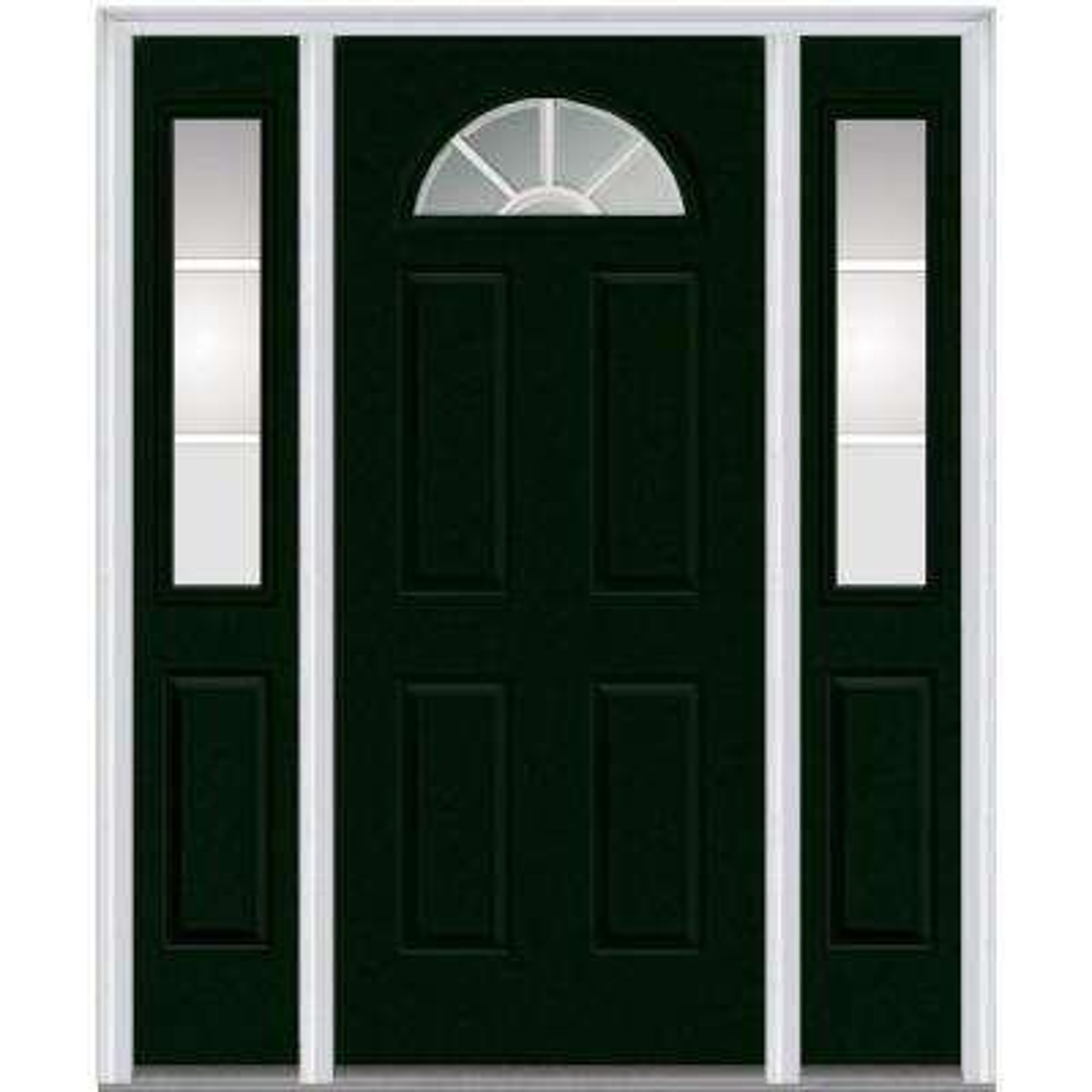 60 in. x 80 in. Grilles Between Glass Left-Hand Fan Lite 4-Panel Classic Painted Steel Prehung Front Door w/ Sidelites