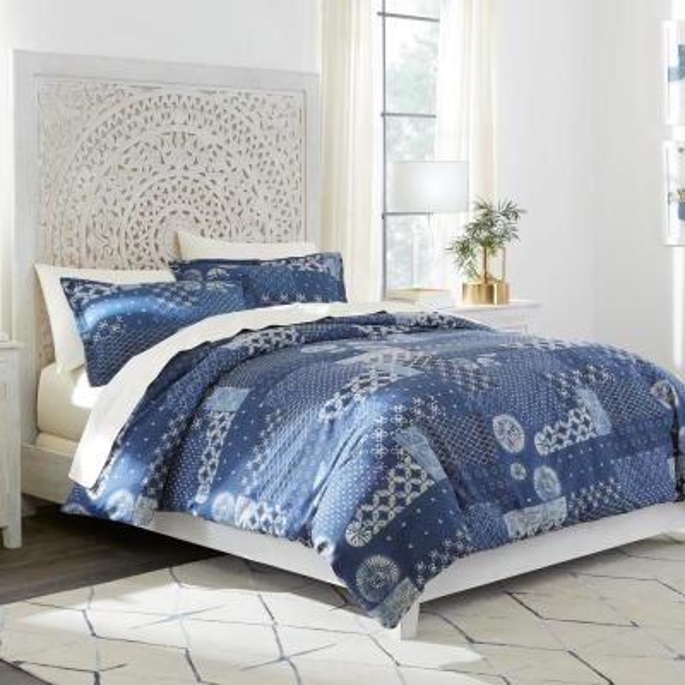 Home Decorators Collection Gutherie 3-Piece Shibori Indigo Patchwork Full/Queen Duvet Cover Set