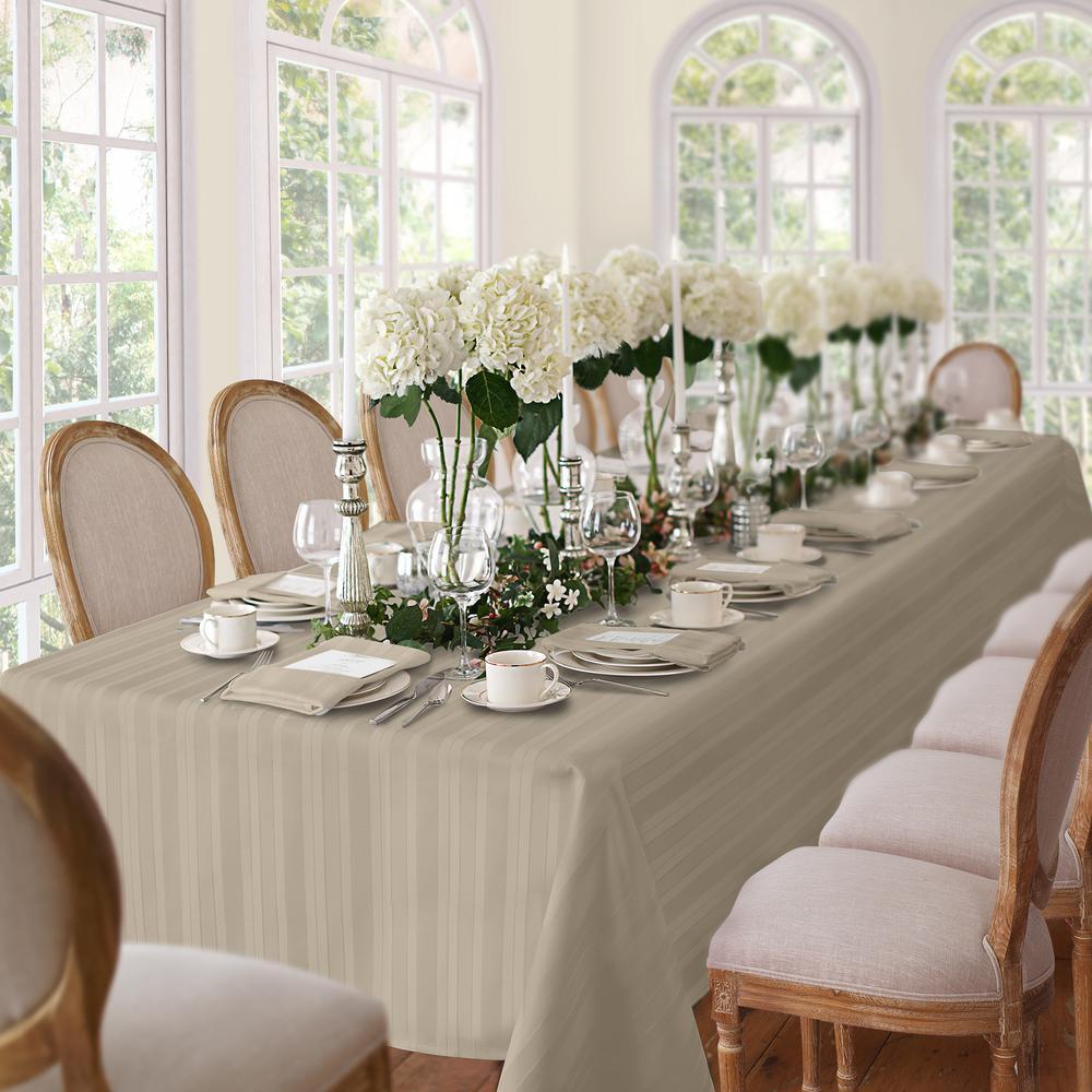 60 in. W x 102 in. L Gray Elrene Denley Stripe Damask Fabric Tablecloth
