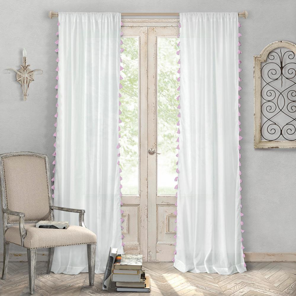 Bianca 52 in. W x 84 in. L Polyester Single Rod Pocket Window Curtain Panel in Blush