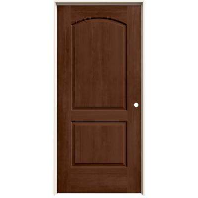 36 in. x 80 in. Continental Milk Chocolate Stain Left-Hand Solid Core Molded Composite MDF Single Prehung Interior Door