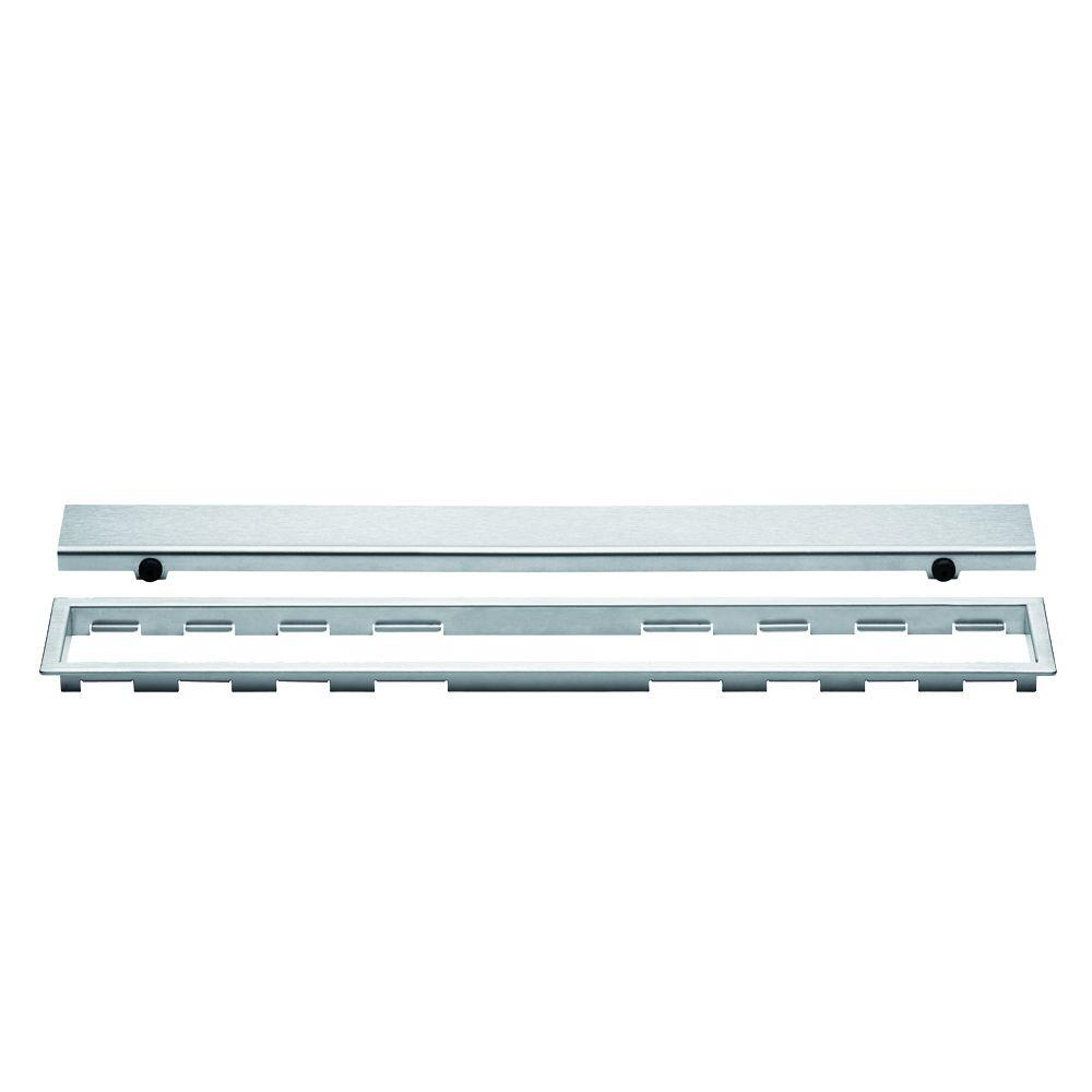 Kerdi-Line Brushed Stainless Steel 28 in. Metal Closed Drain Grate Assembly