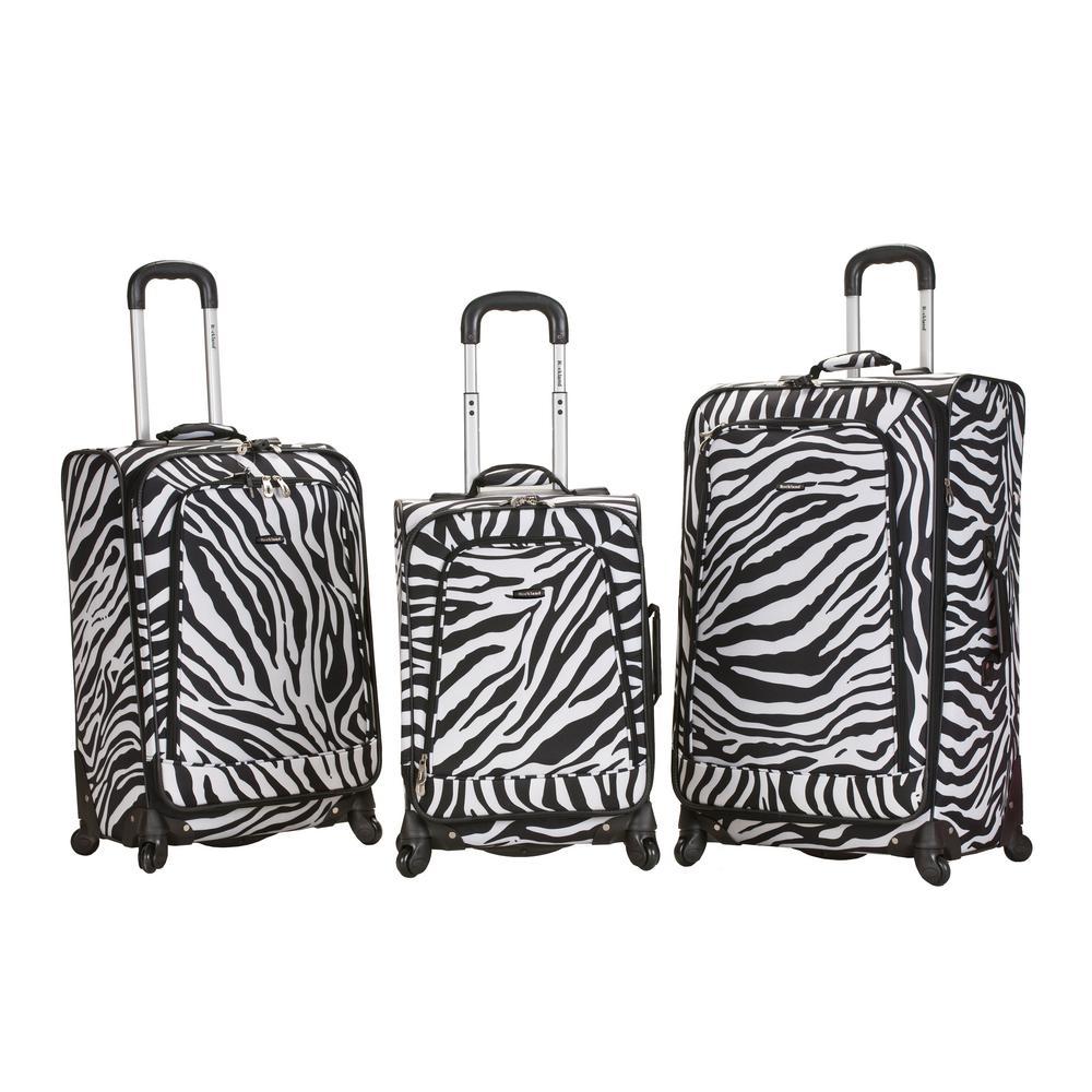 Rockalnd Expandable Fusion 3-Piece Softside Luggage Set, Zebra