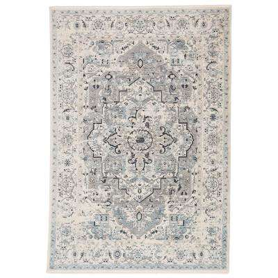 Linzi Power Loomed Blue/Gray 8 ft. 10 in. x 11 ft. 10 in. Medallion Area Rug