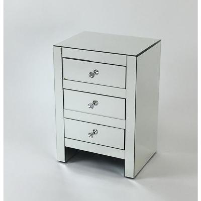 3-Drawers Clear Beveled Mirror Chest