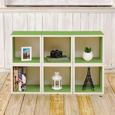 Barcelona 40.2 in.x25.6 in. 6-Cubes zBoard Stackable Modular Storage Cubby Organizer,Tool-Free Assembly Storage in Green