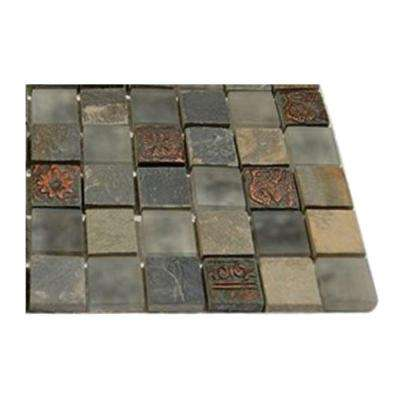 Tapestry Vintage Jewelry 1 in. x 1 in. Marble and Glass Tiles - 4 in. x 4 in. Tile Sample