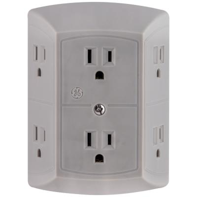 Grounded 6-Outlet Wall Tap Adapter Spaced, Grey
