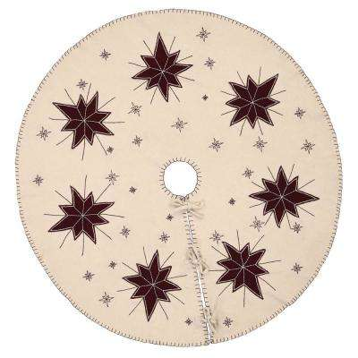 48 in. North Star Creme White Farmhouse Christmas Decor Tree Skirt