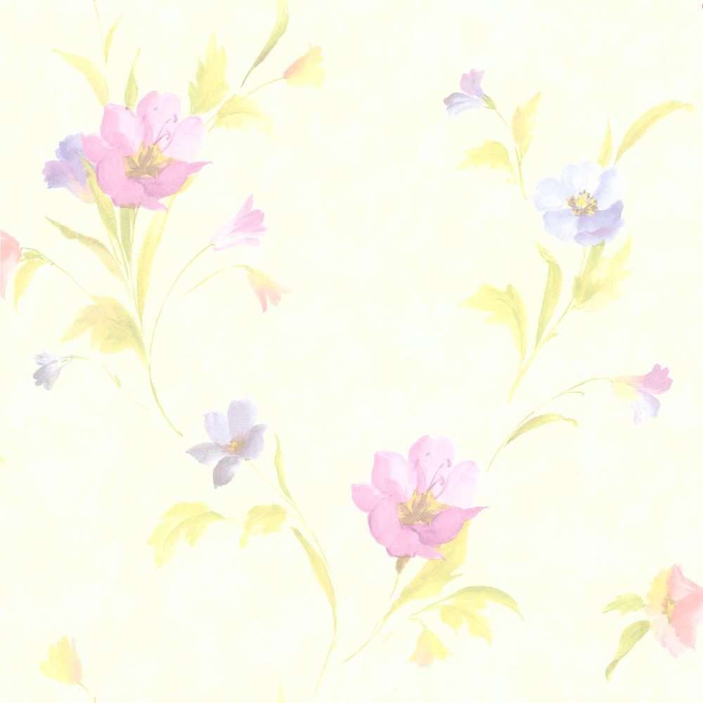 56.4 sq. ft. Vivianne Metallic Iris Floral Wallpaper